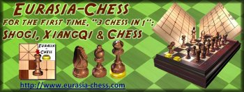 "For the first time ""3 chess in 1"", with a unique chessmen set"